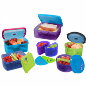 Kids Value Lunch Container Set with Removable Ice Packs - 17 Piece Set