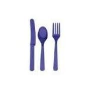 Purple Plastic Cutlery Set Fork Spoon Knives - 48pc Set