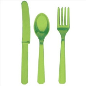 Amscan Kiwi 24pc Premium Heavy Weight Assorted Plastic Party Cutlery Tableware