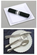 Reflections Plastic Cutlery Pre-Wraped in Linen Like Black Napkin 30 Rolls Per Pack