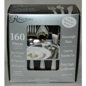 "Reflections Heavyweight ""Looks Like Silver"" Disposable Flatware for 80 with Bonus Pack of 80 Forks - 320 Pieces in All"