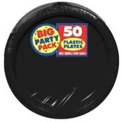 BIG PACK 25.4cm PLASTIC PLATES BLACK 50 COUNT