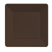 Paper Plate Square 18cm Chocolate Package of 18