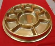 Golden 9 Compartment Disposable Plastic Plate - 50 Plates