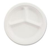 Chinet 21204 Classic White Moulded Fibre 2-Compartment Plate, 10-0.6cm Diameter