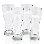 Cathy's Concepts Gentleman's Moustache Pilsners Beer Glass, Set of 4