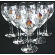 Vintage Set of 6 Leffe Belgian Abbey Beer Glasses
