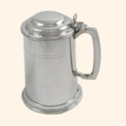 One Pint Lined Pewter Tankard with lid