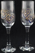 Celtic Glass Designs Set of 2 Hand Painted Champagne Flutes in a Blue Celtic Double Love Knot Design.
