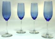 Cobalt/Royal Blue, Clear Stem, Two-Tone Champagne Glasses Flutes - Set of 4