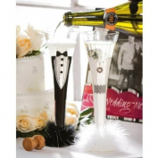 Bride and Groom Champagne Trumpet Flute Set