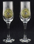 Celtic Glass Designs Set of 2 Hand Painted Champagne Flutes in a Green Celtic Circle of Life Design.