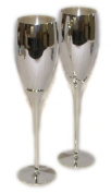 Pair of Silver Plated Champagne Flutes - Knight Brand
