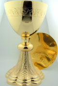 Grape & Wheat Church Chapel Gold Gild Priest Chalice & Paten Pastor Gift 20.3cm Tall