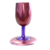 Yair Emanuel Anodize Aluminium Kiddush Cup and Plate in Violet and Pink
