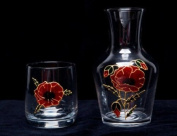 Celtic Glass Designs Hand Painted Water Set Comprising Carafe and Glass in a Poppy Design.