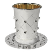 Silver Plated Quilted & Floral Kiddush Wine Goblet & Coaster