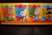 Original Peanuts 'Then and Now' 4 Mug Character Set w/ Lucy, Charlie Brown, Linus & Snoopy