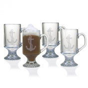 Susquehanna Glass Anchor Footed Mugs, Set of 4