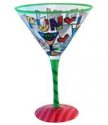 Romero Britto Martinis & Hearts Martini Glass