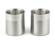StainlessLUX 77351 A Set of 2 Double-walled Stainless Steel Small Drinking Glasses / Water Tumblers (10 Oz. / 1.25 Cup) Two-tone Finish 7.9cm Diameter X 3.1181.1cm Height