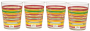 Fiesta Multi-Colour Stripe Glassware, 440ml Tapered Dof Double Old Fashion, Scarlet Collection, Set of 4