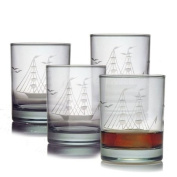 Susquehanna Glass Clipper Ship Pattern 410ml Double Old Fashion Glass, Set of 4