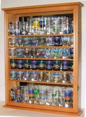 Large 72 Shot Glass Display Case Cabinet Rack Holder-Glass Door, Mirror Back-(SC13-OAK)
