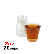 20 Shot Glasses Clear 60ml Mini Wine Party Glass Durable Cups Barware Reusable