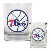 Philadelphia 76Ers Nba Rocks Glass & Square Shot Glass Set - Primary Logo