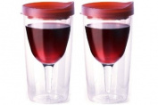 Vino2Go Double Wall Insulated Acrylic Wine Tumbler with Merlot Slide Top Open/Close Drink Through Lid 300ml Set of 2