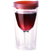 Vino2Go Double Wall Insulated Acrylic Wine Tumbler with Merlot Slide Top Open/Close Drink Through Lid 300ml