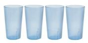 32 oz. (Ounce) Restaurant Tumbler Beverage Cup, Stackable Cups, Break-Resistant Commmerical Plastic, Set of 4 - Blue