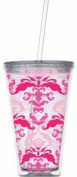 Slant DUOTONE PINK DAMASK Double-Walled Tumbler w/ Straw 710ml