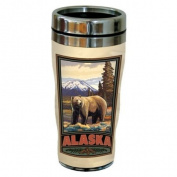 TreeFree Greetings 77326 Alaska Grizzly by Paul A. Lanquist Vintage Art Sip 'N Go Travel Tumbler, Stainless Steel, 470ml, Multicoloured