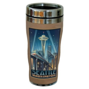 TreeFree Greetings 77424 Seattle Space Needle by Paul A. Lanquist Vintage Art Sip 'N Go Travel Tumbler, Stainless Steel, 470ml, Multicoloured