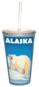 TreeFree Greetings 80334 Alaska Polar Bear by Paul A. Lanquist Artful Traveller Double-Walled Acrylic Cool Cup with Straw, 470ml, Multicoloured