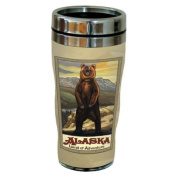 TreeFree Greetings 77327 Alaska Standing Grizzly by Paul A. Lanquist Vintage Art Sip 'N Go Travel Tumbler, Stainless Steel, 470ml, Multicoloured