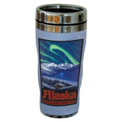 TreeFree Greetings 77333 Alaska Northern Lights by Paul A. Lanquist Vintage Art Sip 'N Go Travel Tumbler, Stainless Steel, 470ml, Multicoloured
