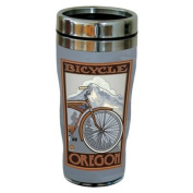 TreeFree Greetings 77408 Oregon Bicycle by Paul A. Lanquist Vintage Art Sip 'N Go Travel Tumbler, Stainless Steel, 470ml, Multicoloured