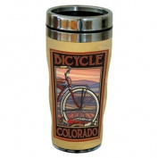 TreeFree Greetings 77352 Colorado Bicycle by Paul A. Lanquist Vintage Art Sip 'N Go Travel Tumbler, Stainless Steel, 470ml, Multicoloured