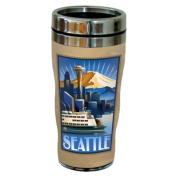 TreeFree Greetings 77425 Seattle Sunrise by Paul A. Lanquist Vintage Art Sip 'N Go Travel Tumbler, Stainless Steel, 470ml, Multicoloured