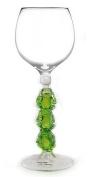 Hand-blown Frogs Wine Glass by Yurana Designs, See/Hear/Speak No Evil - W208