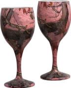 Pink Camo Wine Glasses Set/2