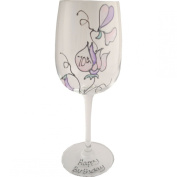 Sweet pea wine glass 70th birthday