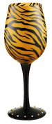 Bottom's Up 440ml Tiger Gold Handpainted Wine Glass