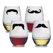 Susquehanna Glass Moustaches Stemless Wine Glasses, 620ml, Set of 4