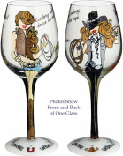 Hand Painted Wine Glass by Bottom's Up - Urban Cowgirl