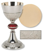 Minister Bishop Religious Catholic Gift Brass 24KT Gold Plate Grape Patterned Red Node Chalice and Paten Set