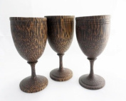 Lot of 3 Wooden Wine Glasses Hand Craft Carved Palm Wood Gift for Special Occasions